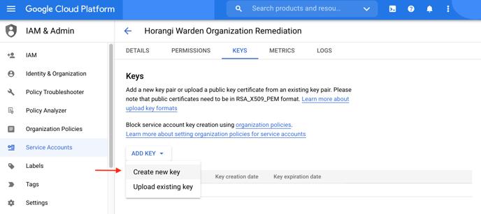 Create new key - org