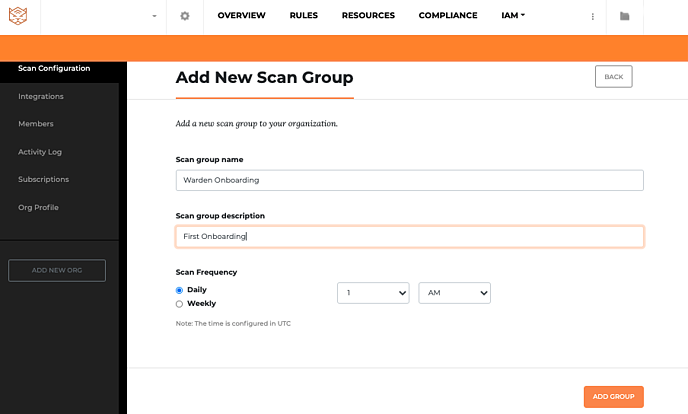 Add New Scan group