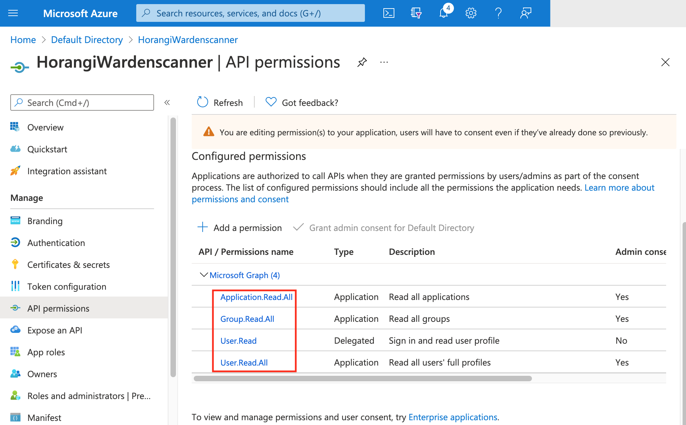 9.Add 4 read permissions
